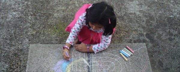 Look at my little one making a rangoli!