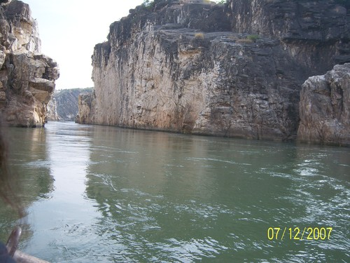 Still waters run deep -- the Narmada at Marble Rocks