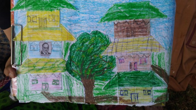 Shivam's drawing, decorated with paper art