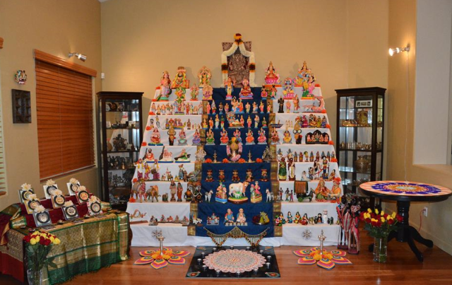 The grand kolu at my niece's house in Phoenix. The rangoli in the foreground has been painstakingly hand-painted!