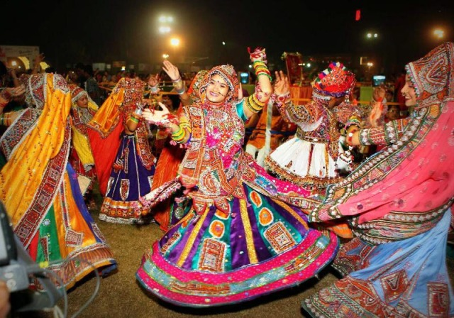 The vibrant and colourful garba